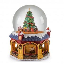 Palla di Neve con albero, trenino e movimento della base